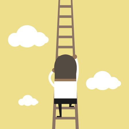 African businessman climbing the ladder to the sky.