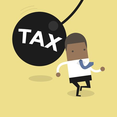African businessman running away from huge pendulum with message 'tax', financial crisis in tax burden concept.