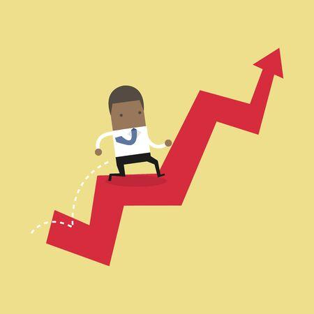 Afrikanischer Geschäftsmann springt über wachsendes Diagramm. Vektorgrafik