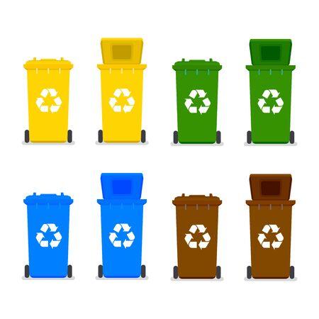 Recycle bins with recycle symbol. Ilustración de vector