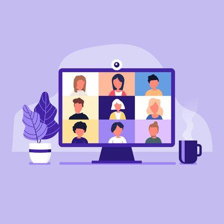 Kollegen unterhalten sich auf dem Computerbildschirm. Konferenz-Videoanruf, von zu Hause aus arbeiten. Vektorgrafik