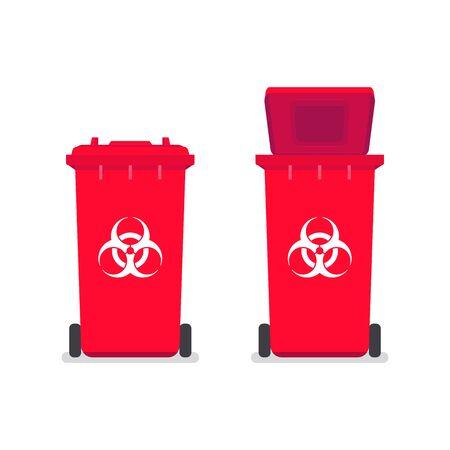 Medical waste bin. Contaminated waste sign. Biohazard trash garbage bin. Ilustración de vector