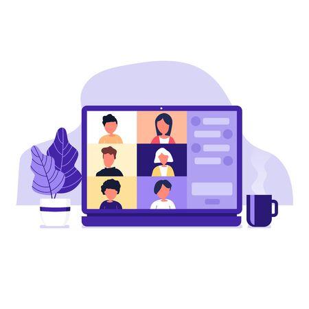 Kollegen unterhalten sich auf dem Laptop-Bildschirm. Konferenz-Videoanruf, von zu Hause aus arbeiten.