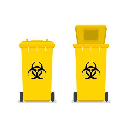 Medizinischer Abfallbehälter. Zeichen für kontaminierten Abfall. Biohazard Mülleimer.