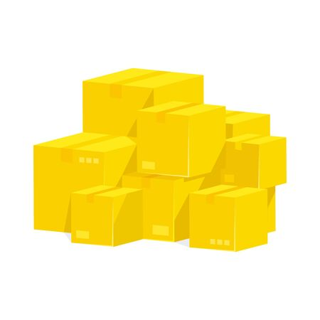 Pile of stacked sealed goods yellow cardboard boxes.