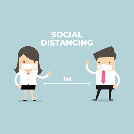 Businessman and Businesswoman keep distance away in the meeting with virus pathogens. Social distancing concept.