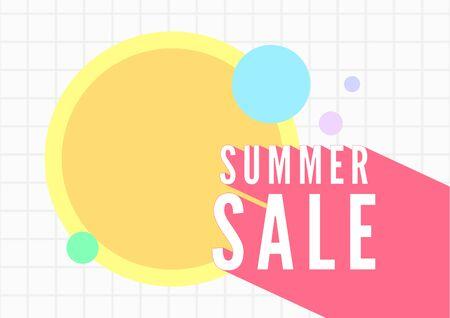 Summer sale banner template. White tiles background.