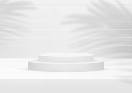 Empty podium studio white wood background with palm leaves for product display. Showroom shoot render. Banner background for advertise product. Illusztráció