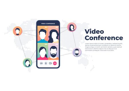 World wide video conference on mobile concept. Videoconferencing and online meeting banner. Illustration