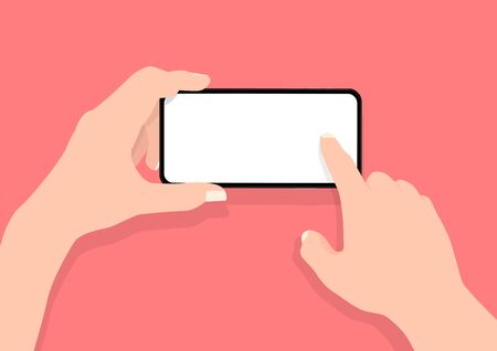 Man two hands holding mobile smart phone in horizontal position with blank screen.