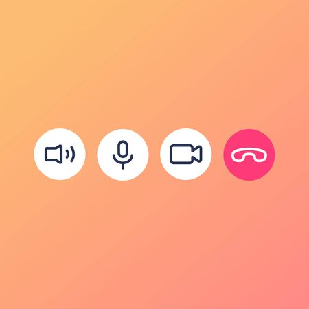 Video call icon. Video conference on mobile icon set. Illustration