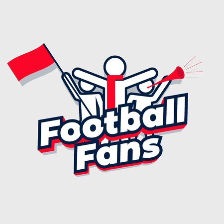 Football fans cheering team. Group sport fans with football fans lettering.