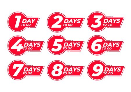 Countdown left days label. count time sale. Nine, eight, seven, six, five, four, three, two, one days left.