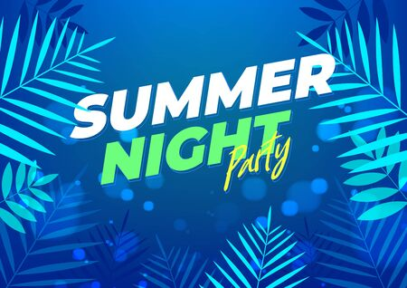 Dark summer night party tropical background for banner or flyer with dark blue palm leaves. Illustration