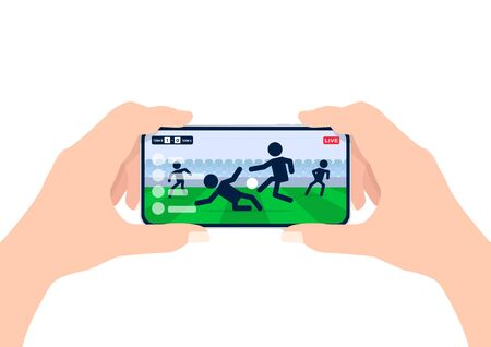 Soccer or football league live streaming on mobile phone. Man hands holding smartphone and watch any live football match online. Illustration