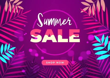 Colorful night summer sale tropical gradient banner.