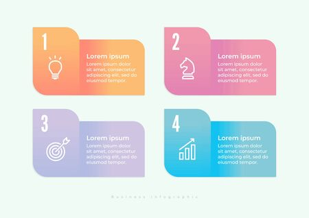 Infographics design and marketing icons can be used for workflow layout, diagram, annual report, web design. Business concept with 4 options, steps or processes.
