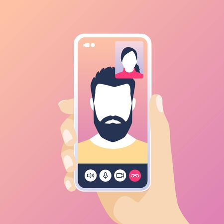 Hand holding smartphone with video call. Illustration