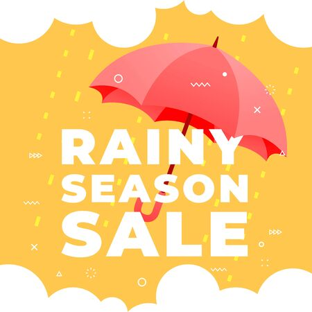 Rainy season sale with red umbrella on yellow background banner.