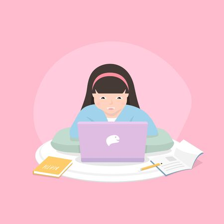 Distance learning solutions. Cute little girl using laptop for online education at home. Learn at home concept.