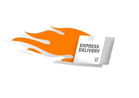 Express and Fast Delivery concept. Box on fire. Illustration