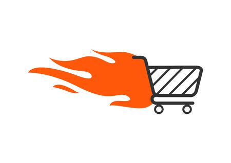 Shopping cart with fire. Fast shopping concept.