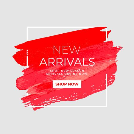 New Arrivals sale text over watercolor art brush paint abstract background. Sale and promotion banner.