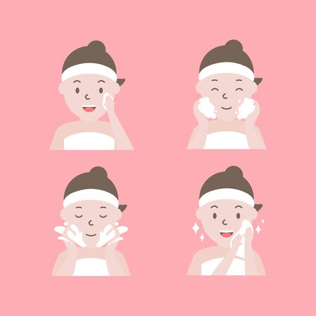 Steps how to cleaning face. Woman with step of clean and care her face.