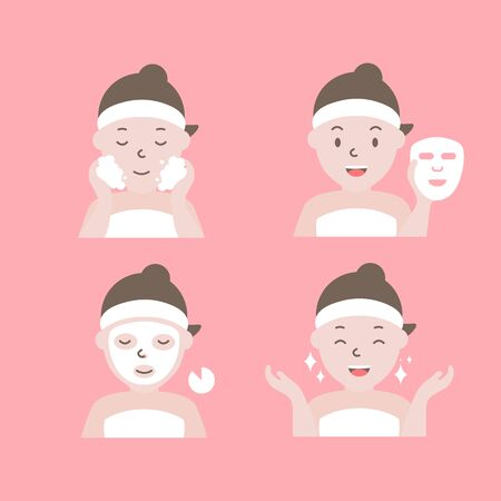 Steps how to apply facial mask. Woman with step of face masking.
