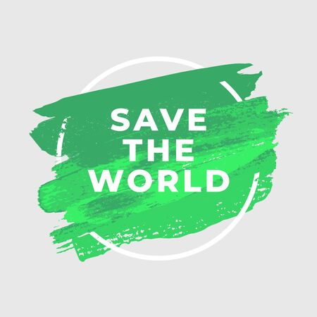 Save the World ecology watercolor art brush paint abstract background. Illustration