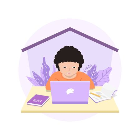 Distance learning solutions. Cute little boy using laptop for online education at home. Learn at home concept. Illustration