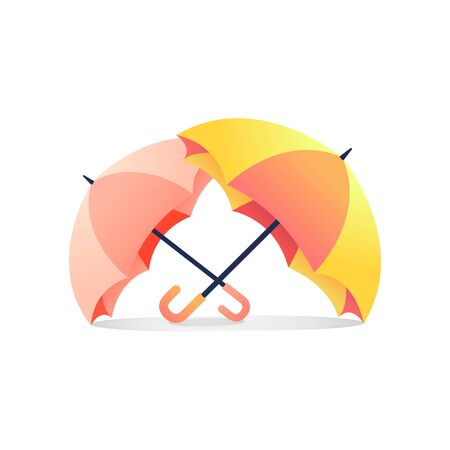 Two colorful umbrellas placed on a white background.