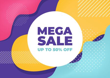 Mega sale with colorful geometric shapes banner. Illustration