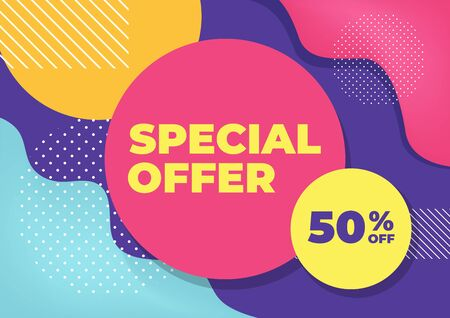 Special offer with colorful geometric shapes banner. Illustration
