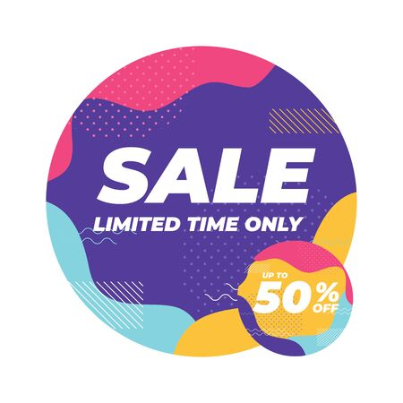 Sale limited time only with colorful geometric shapes banner. Illustration
