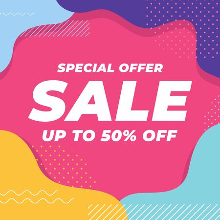 Special offer sale up to 50% off with colorful geometric shapes banner. Illustration