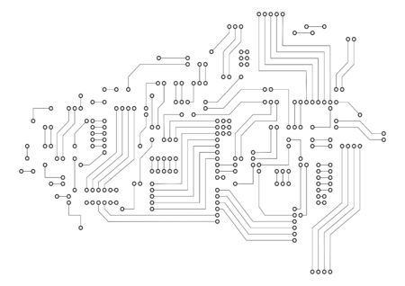Futuristic circuit board on white background. Digital technology concept. Illustration
