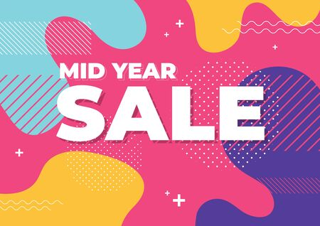 Mid year sale with abstract colorful geometric shapes background banner template.