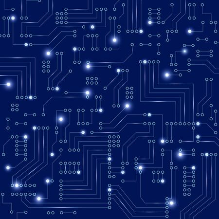 Abstract futuristic circuit board on dark blue background. Digital technology concept.