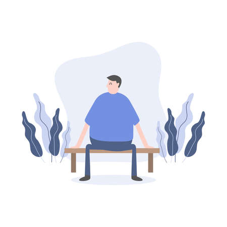 Man character sitting on bench in park cartoon character.