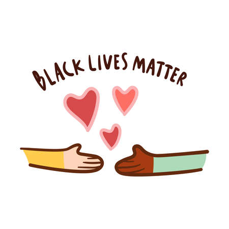 Black lives matter with love, hand drawn symbol. Black and white together handshake concept.