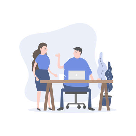 Man and woman company staff talk at the desk. Office worker cartoon character.