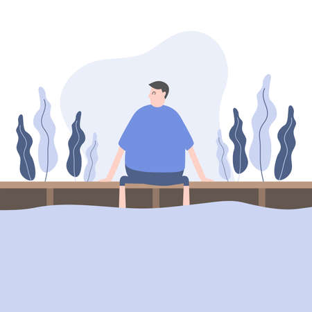 Man sitting on wooden pier cartoon character.