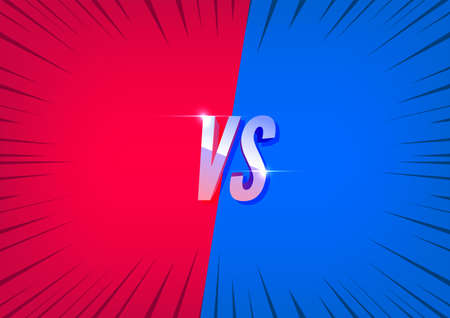 Versus red and blue screen. Fight backgrounds against each other.