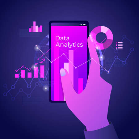 Hand holding mobile with futuristic hi-tech technology concept. Digital data analytics on smartphone with line chart and graphs.