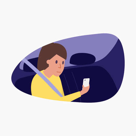 Woman sitting on the back seat of car and using smartphone.