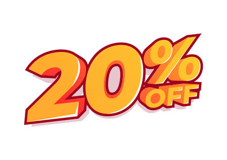 20% off sale tag. Sale of special offers. Discount with the price is 20%.