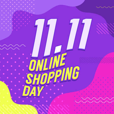 11.11 Online shopping day poster or flyer design. Global shopping day online sale banner.
