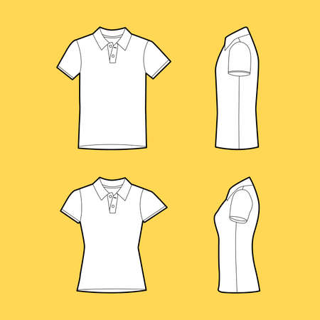 Men's and Women's polo t-shirt in front and side views template.