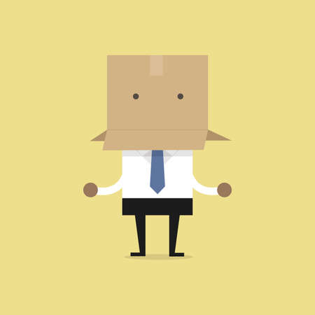 African businessman with a cardboard box on his head.